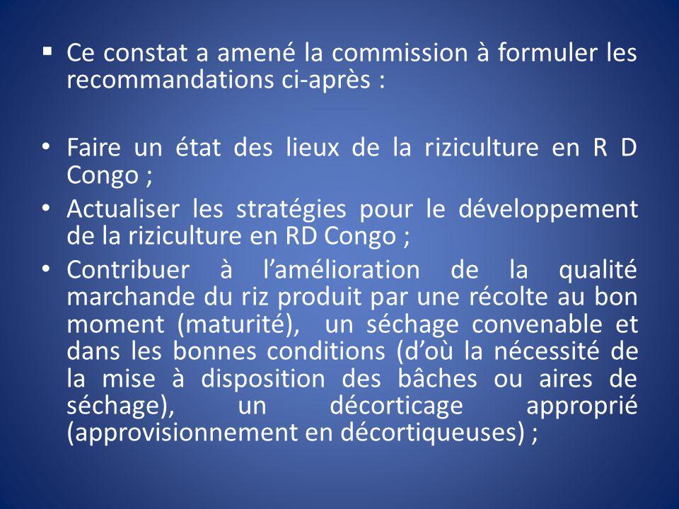 Ce constat a amené la commission à formuler les recommandations ci-après : Faire un état des lieux de la riziculture en R D Congo ; Actualiser les str