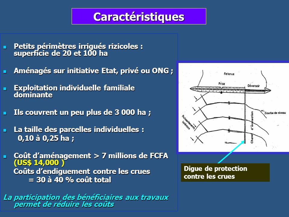 Caractéristiques Petits périmètres irrigués rizicoles : superficie de 20 et 100 ha Petits périmètres irrigués rizicoles : superficie de 20 et 100 ha A
