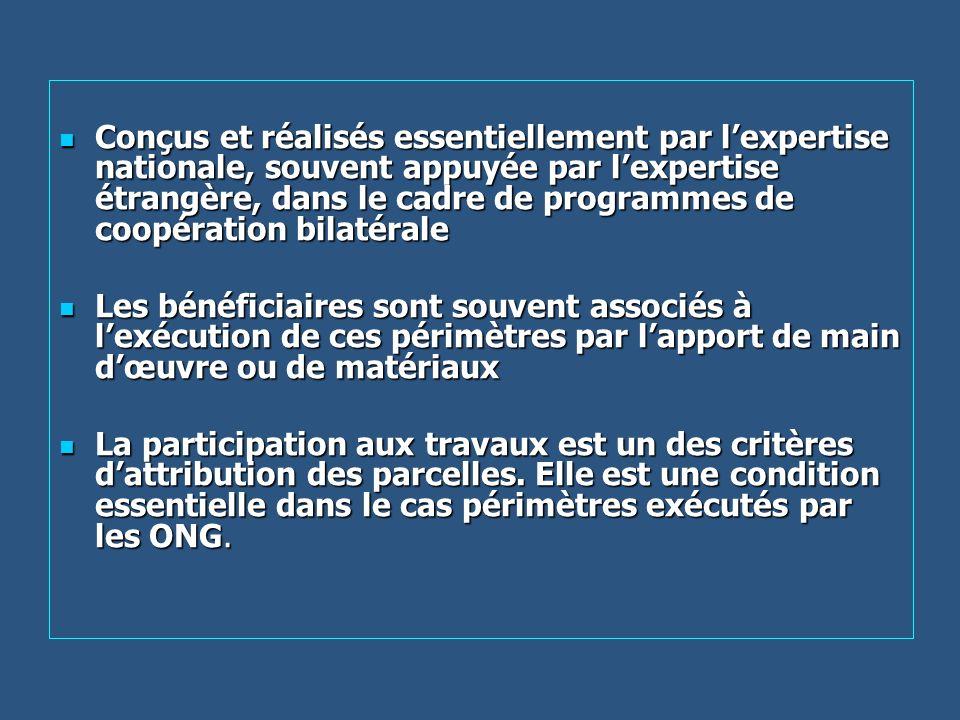 Conçus et réalisés essentiellement par lexpertise nationale, souvent appuyée par lexpertise étrangère, dans le cadre de programmes de coopération bila