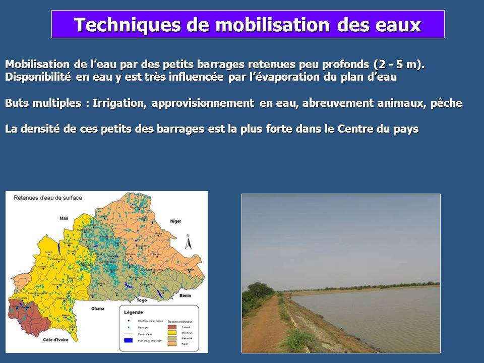 Techniques de mobilisation des eaux Mobilisation de leau par des petits barrages retenues peu profonds (2 - 5 m). Disponibilité en eau y est très infl