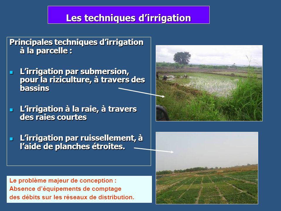 Les techniques dirrigation Principales techniques dirrigation à la parcelle : Lirrigation par submersion, pour la riziculture, à travers des bassins L