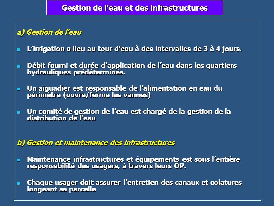 Gestion de leau et des infrastructures a) Gestion de leau Lirrigation a lieu au tour deau à des intervalles de 3 à 4 jours. Lirrigation a lieu au tour