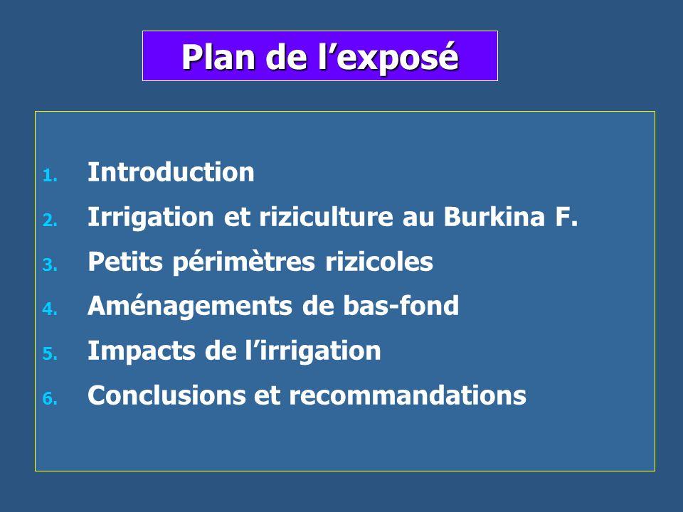 Plan de lexposé 1. 1. Introduction 2. 2. Irrigation et riziculture au Burkina F. 3. 3. Petits périmètres rizicoles 4. 4. Aménagements de bas-fond 5. 5