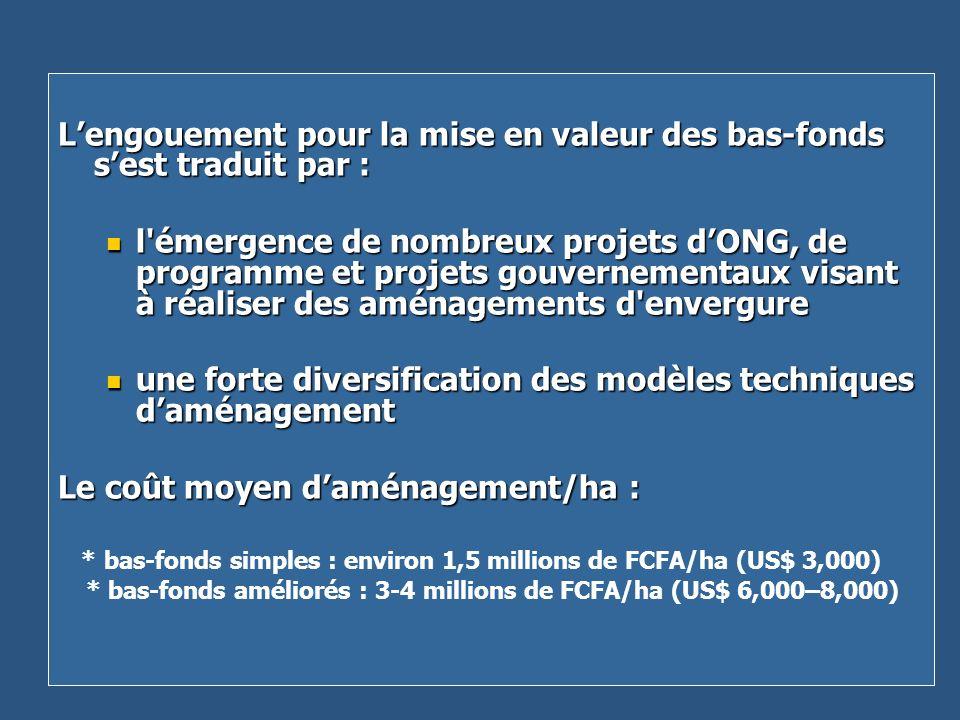 Lengouement pour la mise en valeur des bas-fonds sest traduit par : l'émergence de nombreux projets dONG, de programme et projets gouvernementaux visa