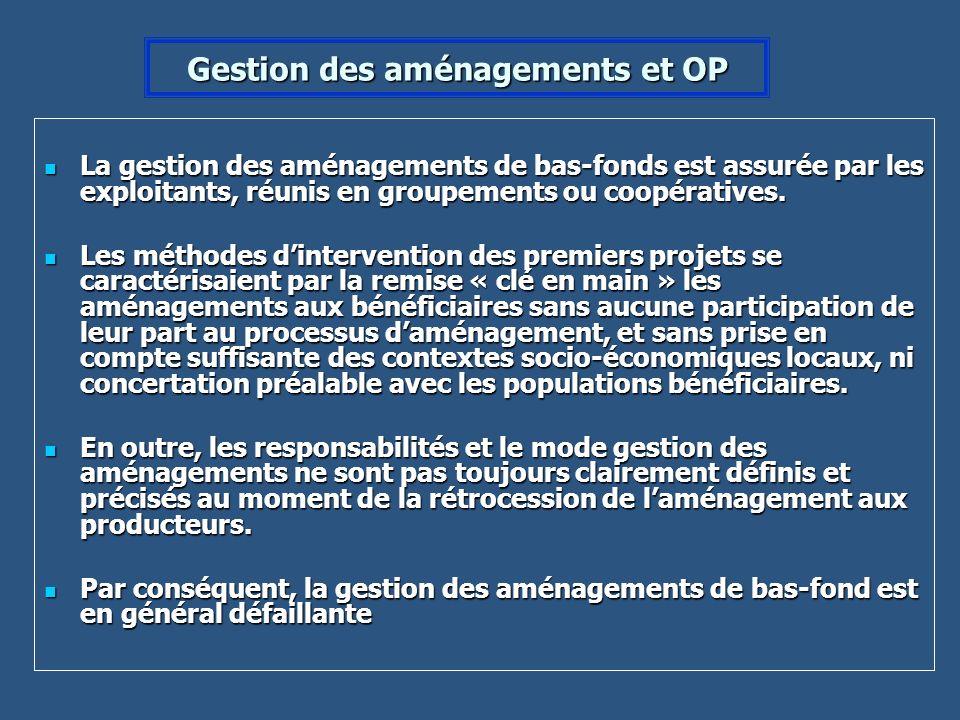 Gestion des aménagements et OP La gestion des aménagements de bas-fonds est assurée par les exploitants, réunis en groupements ou coopératives. La ges