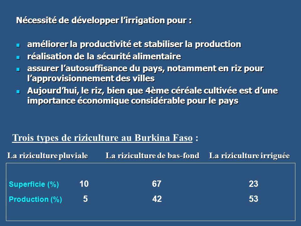 Nécessité de développer lirrigation pour : améliorer la productivité et stabiliser la production améliorer la productivité et stabiliser la production