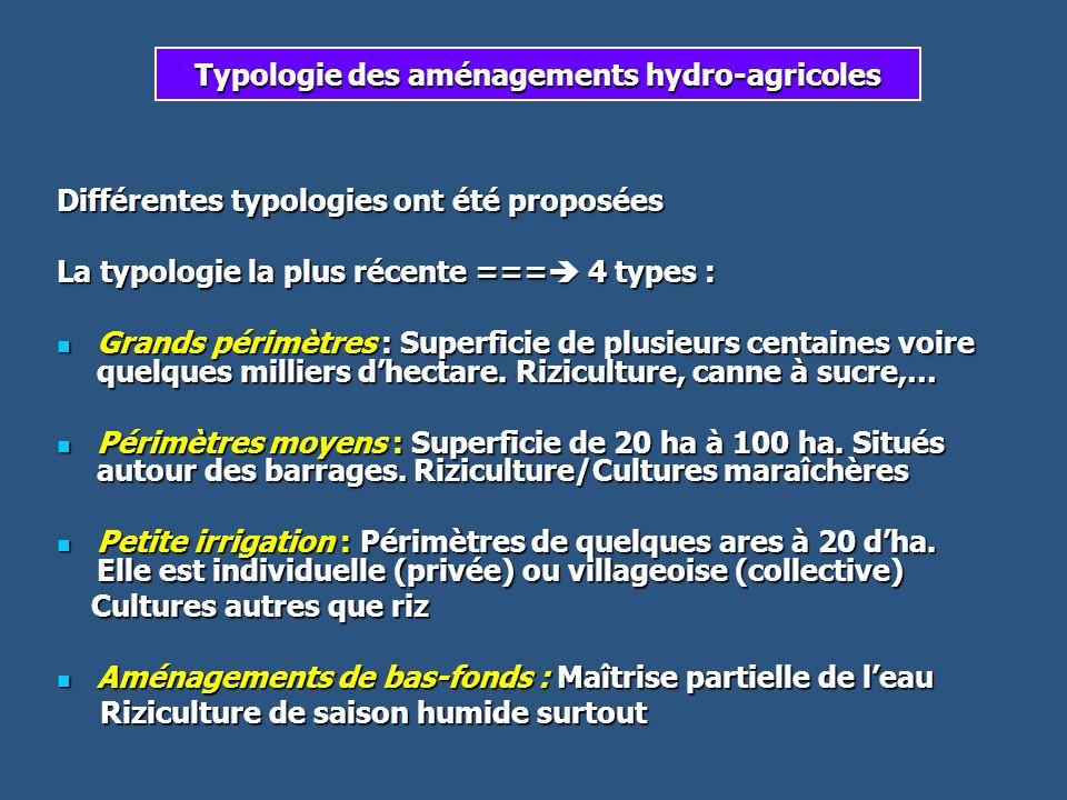 Typologie des aménagements hydro-agricoles Différentes typologies ont été proposées La typologie la plus récente === 4 types : Grands périmètres : Sup