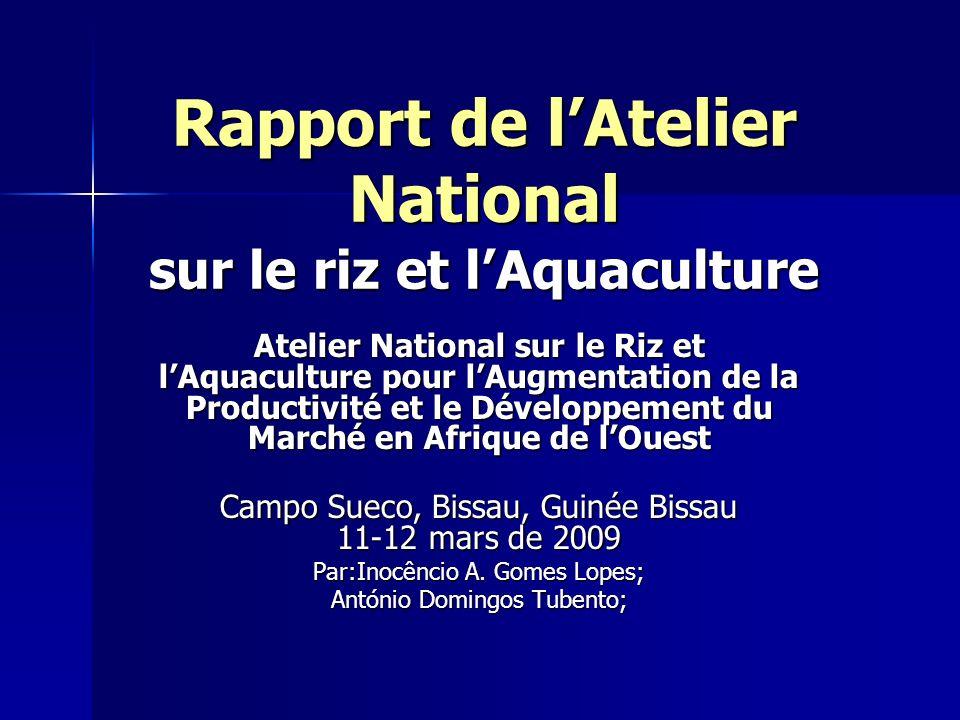 Rapport de lAtelier National sur le riz et lAquaculture Atelier National sur le Riz et lAquaculture pour lAugmentation de la Productivité et le Dévelo