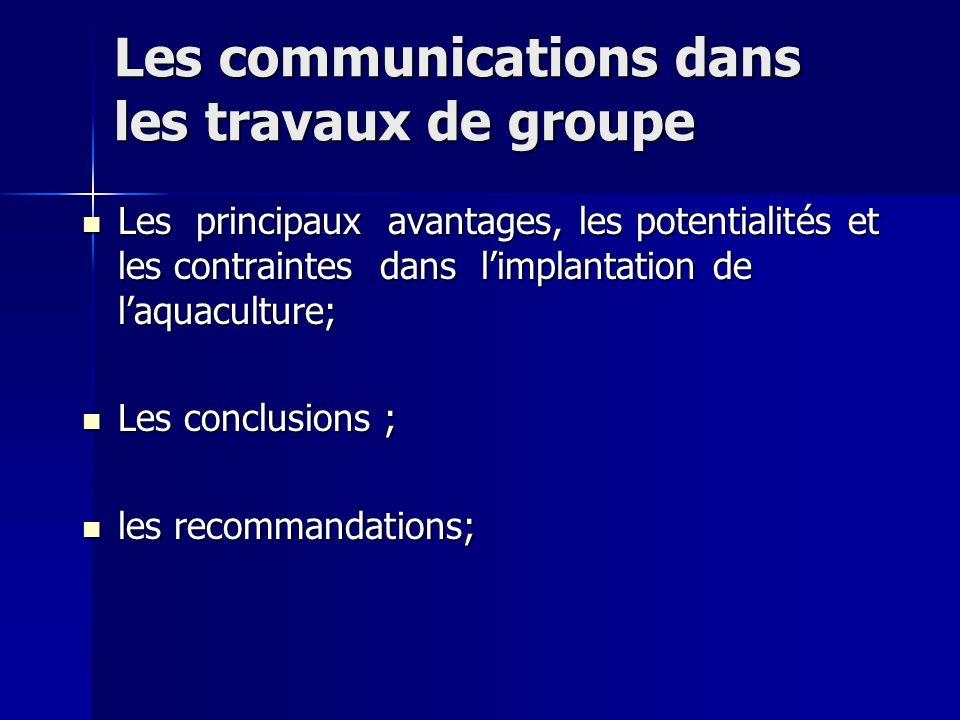 Les communications dans les travaux de groupe Les communications dans les travaux de groupe Les principaux avantages, les potentialités et les contrai