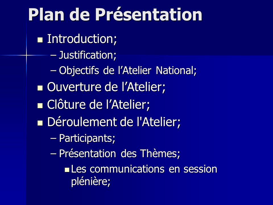 Plan de Présentation Introduction; –J–J–J–Justification; –O–O–O–Objectifs de lAtelier National; Ouverture de lAtelier; Clôture de lAtelier; Déroulemen