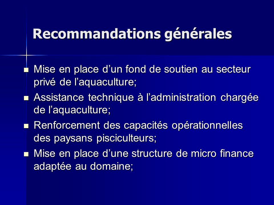 Recommandations générales Mise en place dun fond de soutien au secteur privé de laquaculture; Mise en place dun fond de soutien au secteur privé de la