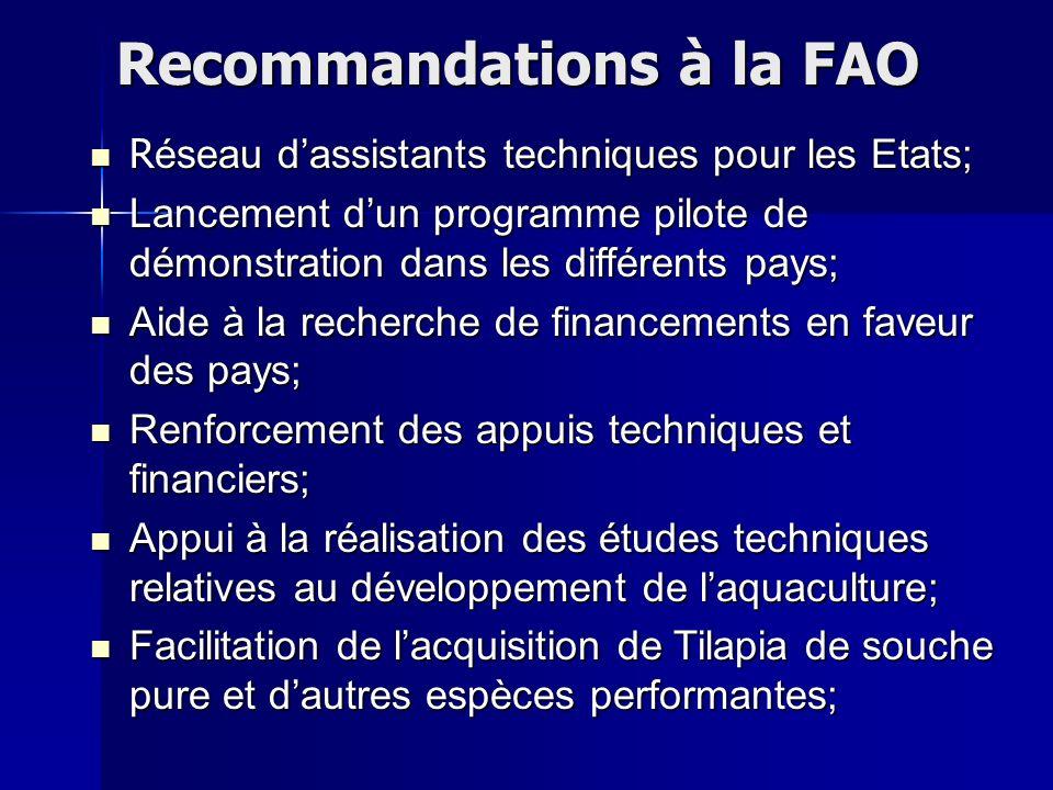 Recommandations à la FAO Réseau dassistants techniques pour les Etats; Lancement dun programme pilote de démonstration dans les différents pays; Aide