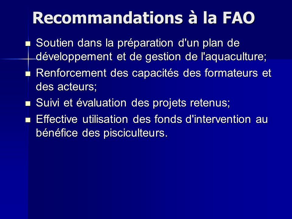 Soutien dans la préparation d'un plan de développement et de gestion de l'aquaculture; Renforcement des capacités des formateurs et des acteurs; Suivi