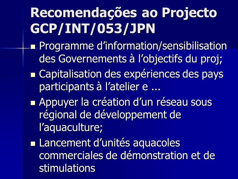 Recomendações ao Projecto GCP/INT/053/JPN Programme dinformation/sensibilisation des Governements à lobjectifs du proj; Capitalisation des expériences