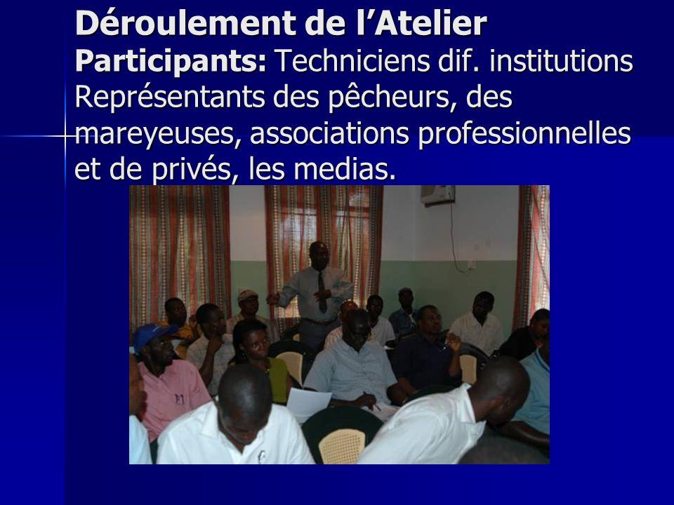 Déroulement de lAtelier Participants: Techniciens dif. institutions Représentants des pêcheurs, des mareyeuses, associations professionnelles et de pr
