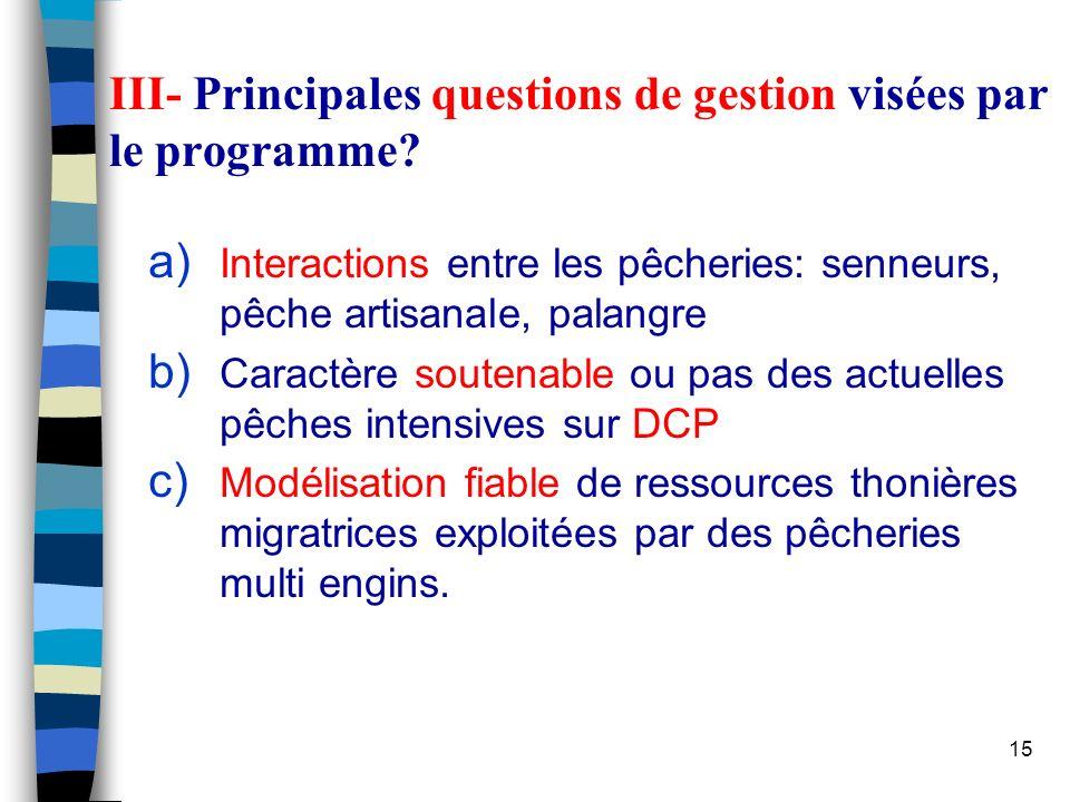 15 III- Principales questions de gestion visées par le programme.