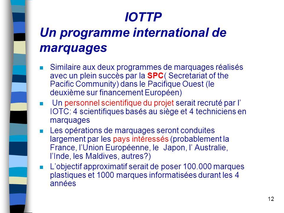 12 IOTTP Un programme international de marquages n Similaire aux deux programmes de marquages réalisés avec un plein succès par la SPC( Secretariat of