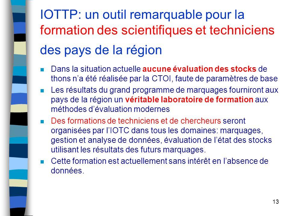 13 IOTTP: un outil remarquable pour la formation des scientifiques et techniciens des pays de la région n Dans la situation actuelle aucune évaluation