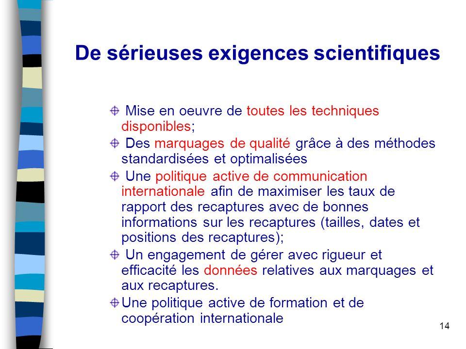 14 De sérieuses exigences scientifiques Mise en oeuvre de toutes les techniques disponibles; Des marquages de qualité grâce à des méthodes standardisé
