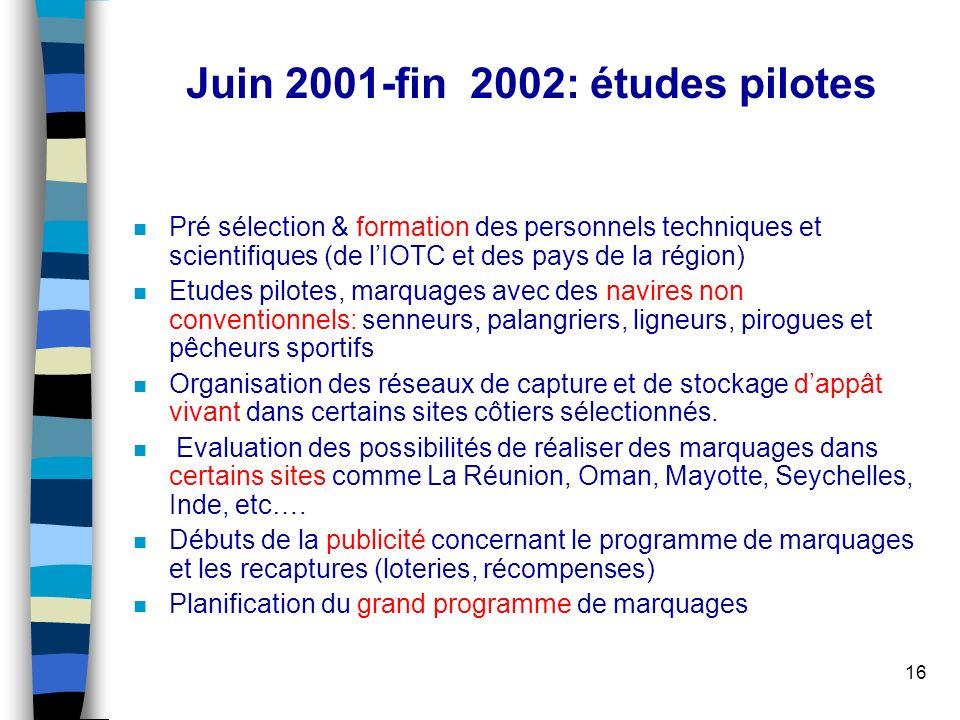 16 Juin 2001-fin 2002: études pilotes n Pré sélection & formation des personnels techniques et scientifiques (de lIOTC et des pays de la région) n Etu