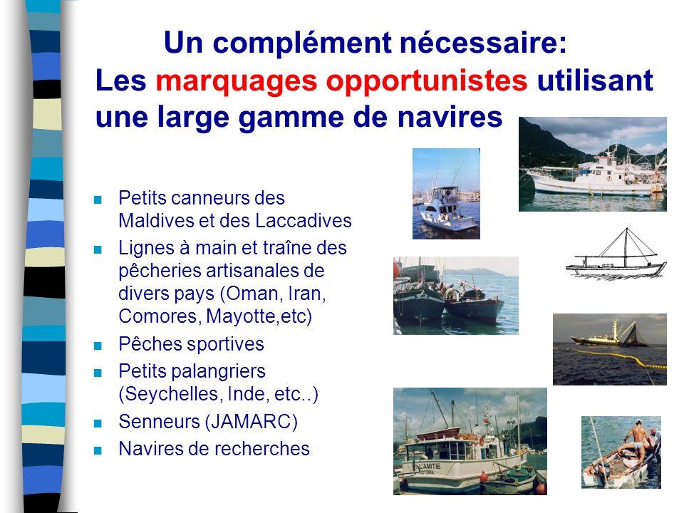 5 Un complément nécessaire: Les marquages opportunistes utilisant une large gamme de navires n Petits canneurs des Maldives et des Laccadives n Lignes