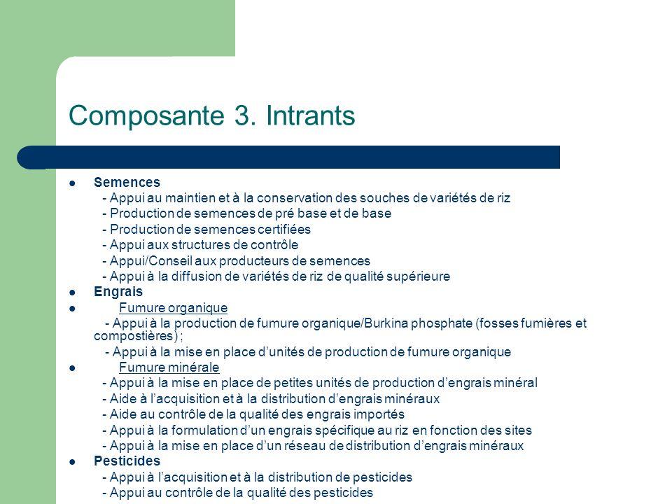 Composante 3. Intrants Semences - Appui au maintien et à la conservation des souches de variétés de riz - Production de semences de pré base et de bas