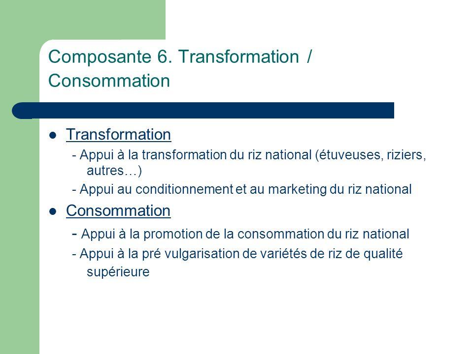 Composante 6. Transformation / Consommation Transformation - Appui à la transformation du riz national (étuveuses, riziers, autres…) - Appui au condit
