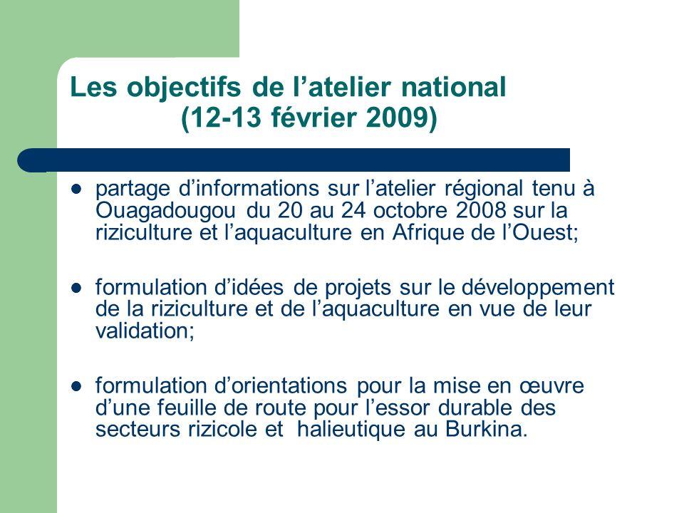 Les objectifs de latelier national (12-13 février 2009) partage dinformations sur latelier régional tenu à Ouagadougou du 20 au 24 octobre 2008 sur la