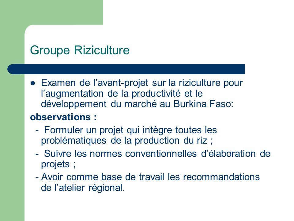 Groupe Riziculture Examen de lavant-projet sur la riziculture pour laugmentation de la productivité et le développement du marché au Burkina Faso: obs