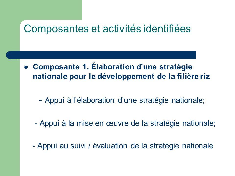 Composante 1. Élaboration dune stratégie nationale pour le développement de la filière riz - Appui à lélaboration dune stratégie nationale; - Appui à