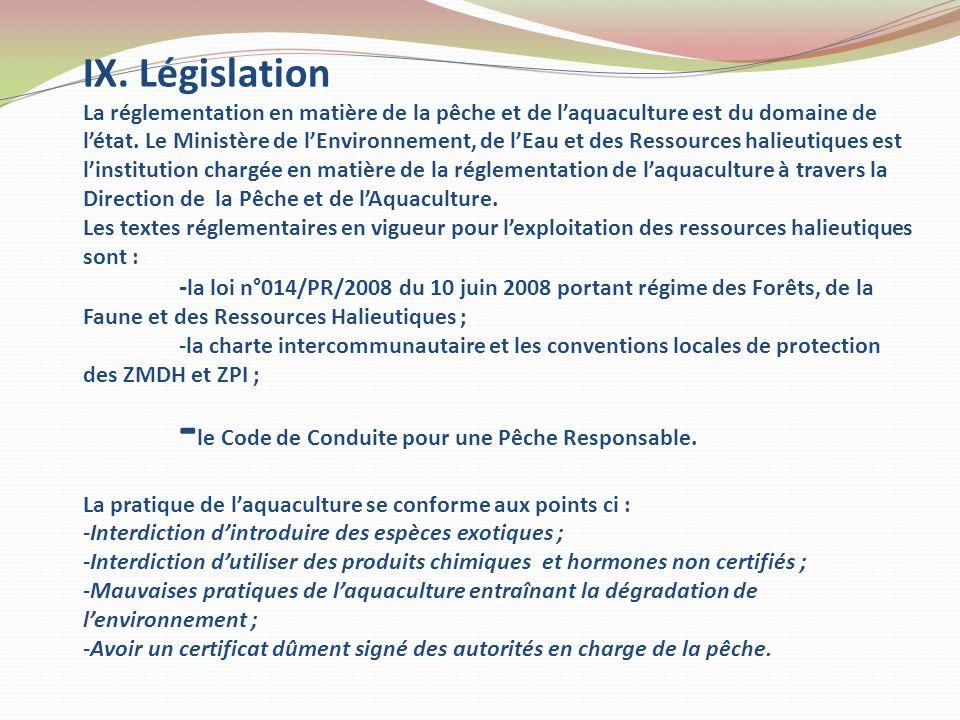 IX. Législation La réglementation en matière de la pêche et de laquaculture est du domaine de létat. Le Ministère de lEnvironnement, de lEau et des Re