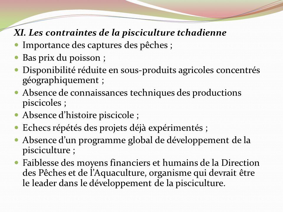 XI. Les contraintes de la pisciculture tchadienne Importance des captures des pêches ; Bas prix du poisson ; Disponibilité réduite en sous-produits ag