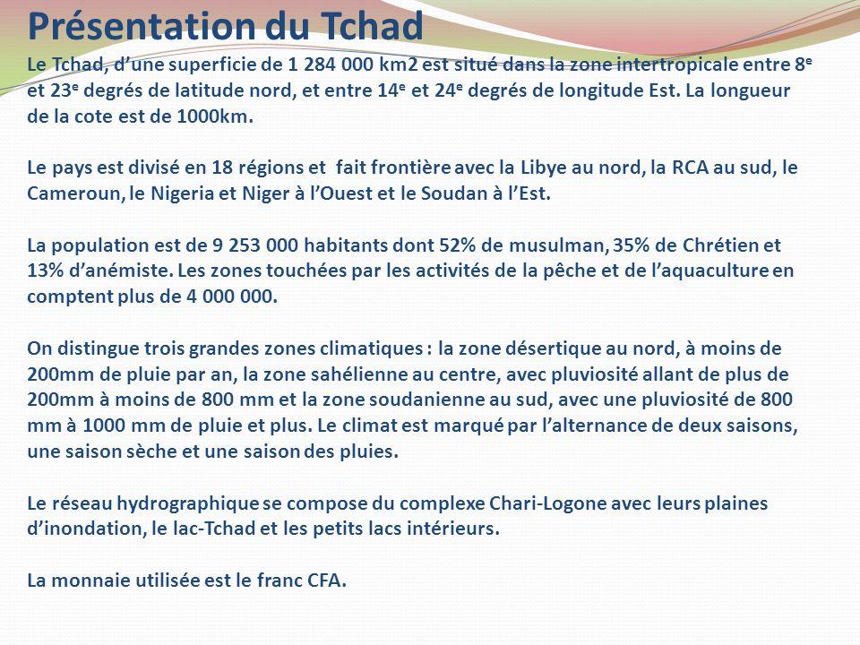 Présentation du Tchad Le Tchad, dune superficie de 1 284 000 km2 est situé dans la zone intertropicale entre 8 e et 23 e degrés de latitude nord, et e
