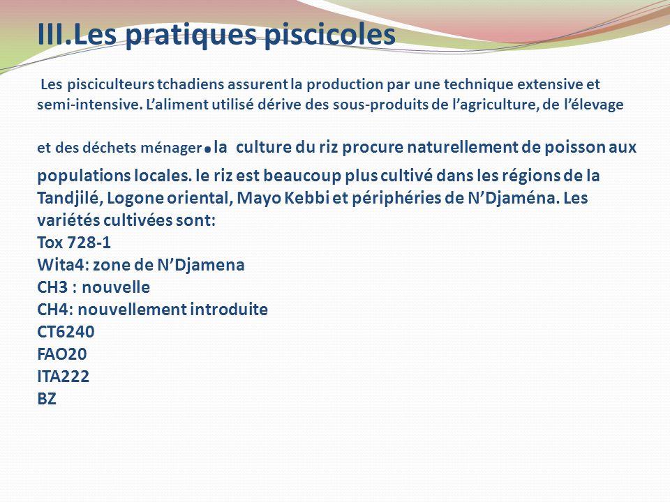III.Les pratiques piscicoles Les pisciculteurs tchadiens assurent la production par une technique extensive et semi-intensive. Laliment utilisé dérive
