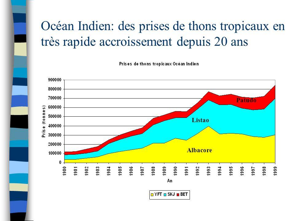Des efforts de pêche effectifs en accroissement soutenu durant les deux dernières décennies Effort des senneurs Effort des palangriers Effectif Nominal