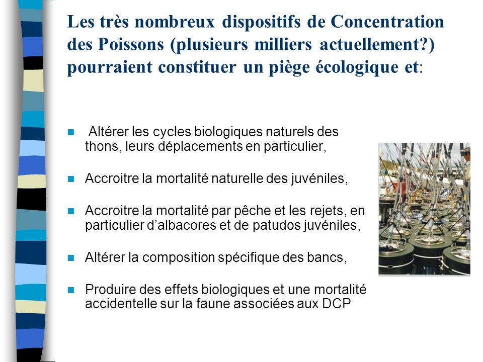 Les très nombreux dispositifs de Concentration des Poissons (plusieurs milliers actuellement?) pourraient constituer un piège écologique et: Altérer l