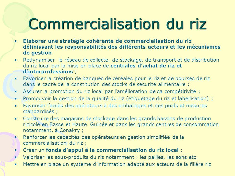 Commercialisation du riz Elaborer une stratégie cohérente de commercialisation du riz définissant les responsabilités des différents acteurs et les mécanismes de gestion Redynamiser le réseau de collecte, de stockage, de transport et de distribution du riz local par la mise en place de centrales dachat de riz et dinterprofessions ; Favoriser la création de banques de céréales pour le riz et de bourses de riz dans le cadre de la constitution des stocks de sécurité alimentaire ; Assurer la promotion du riz local par lamélioration de sa compétitivité ; Promouvoir la gestion de la qualité du riz (étiquetage du riz et labellisation) ; Favoriser laccès des opérateurs à des emballages et des poids et mesures standardisés ; Construire des magasins de stockage dans les grands bassins de production rizicole en Basse et Haute Guinée et dans les grands centres de consommation notamment, à Conakry ; Renforcer les capacités des opérateurs en gestion simplifiée de la commercialisation du riz ; Créer un fonds dappui à la commercialisation du riz local ; Valoriser les sous-produits du riz notamment : les pailles, les sons etc.