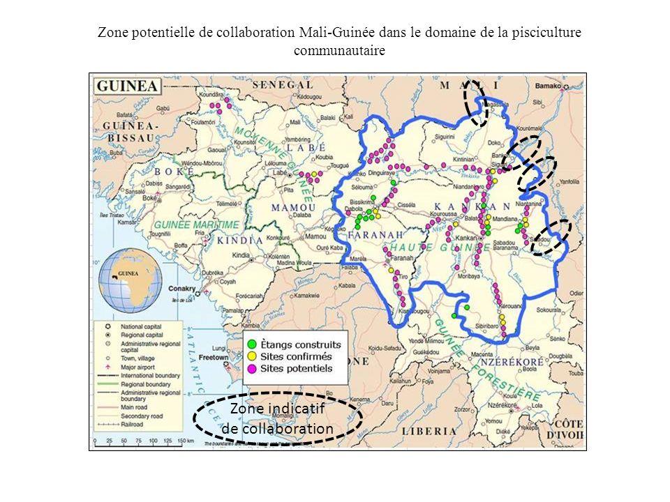 Zone potentielle de collaboration Mali-Guinée dans le domaine de la pisciculture communautaire Zone indicatif de collaboration