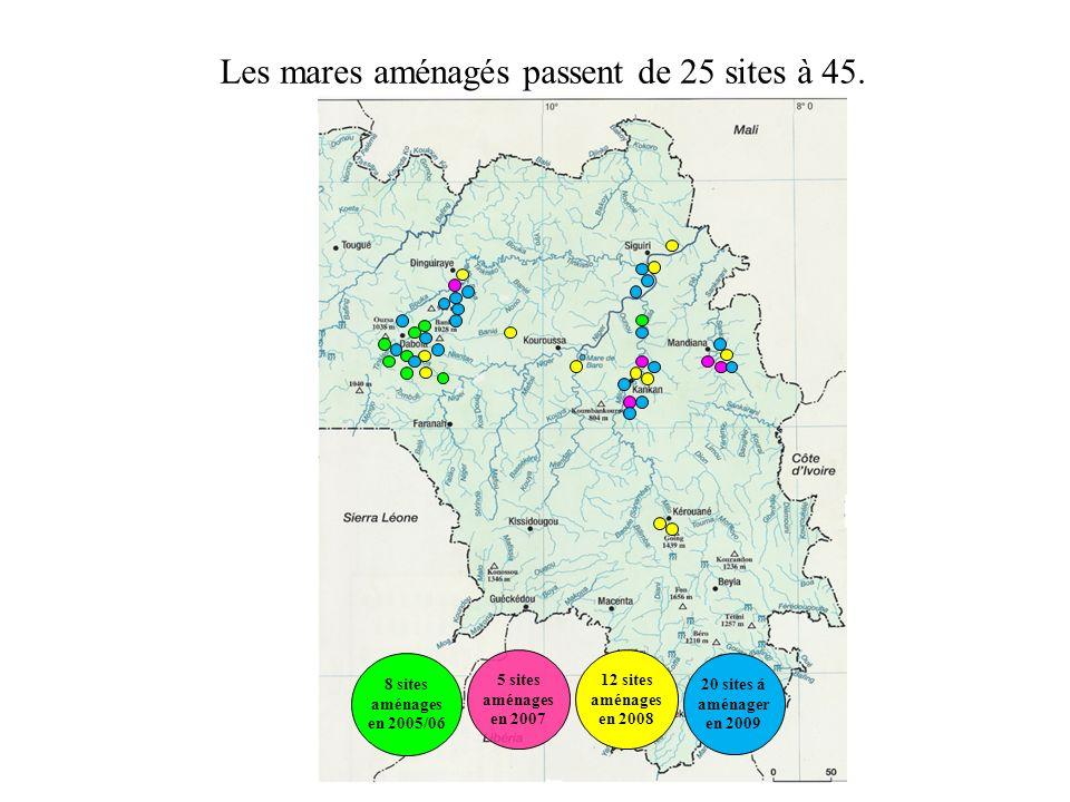 8 sites aménages en 2005/06 5 sites aménages en 2007 12 sites aménages en 2008 20 sites á aménager en 2009 Les mares aménagés passent de 25 sites à 45