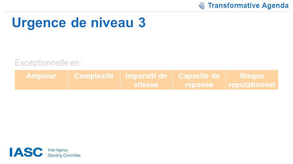 Urgence de niveau 3 Transformative Agenda AmpleurComplexiteImperatif de vitesse Capacite de reponse Risque reputationnel Exceptionnelle en: