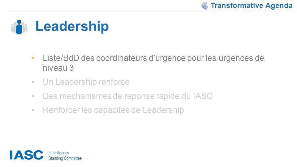 Leadership Transformative Agenda Liste/BdD des coordinateurs durgence pour les urgences de niveau 3 Un Leadership renforce Des mechanismes de reponse rapide du IASC Renforcer les capacites de Leadership