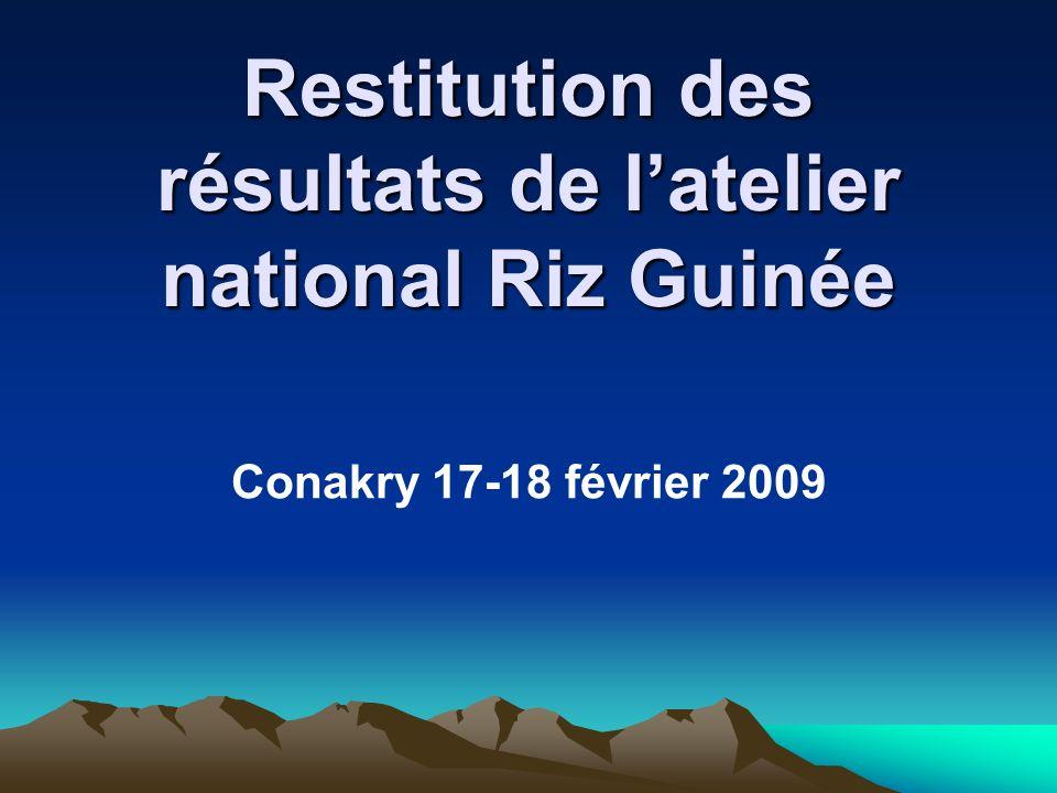 Restitution des résultats de latelier national Riz Guinée Conakry 17-18 février 2009