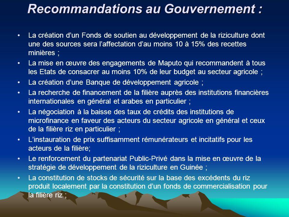 Recommandations au Gouvernement : Recommandations au Gouvernement : La création dun Fonds de soutien au développement de la riziculture dont une des s