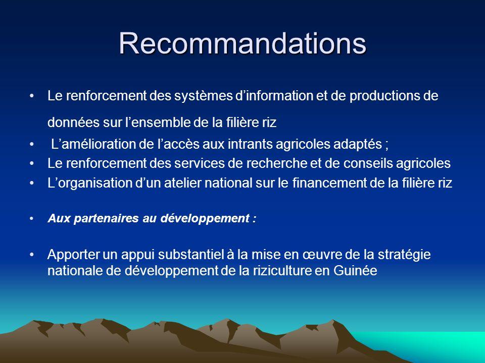 Recommandations Le renforcement des systèmes dinformation et de productions de données sur lensemble de la filière riz Lamélioration de laccès aux int