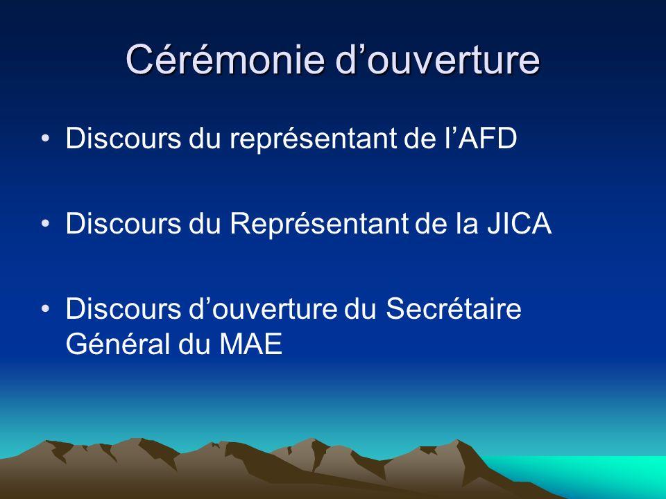 Cérémonie douverture Discours du représentant de lAFD Discours du Représentant de la JICA Discours douverture du Secrétaire Général du MAE
