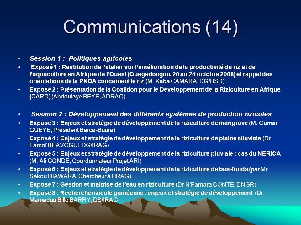 Communications (14) Session 1 : Politiques agricoles Exposé 1 : Restitution de latelier sur lamélioration de la productivité du riz et de laquaculture