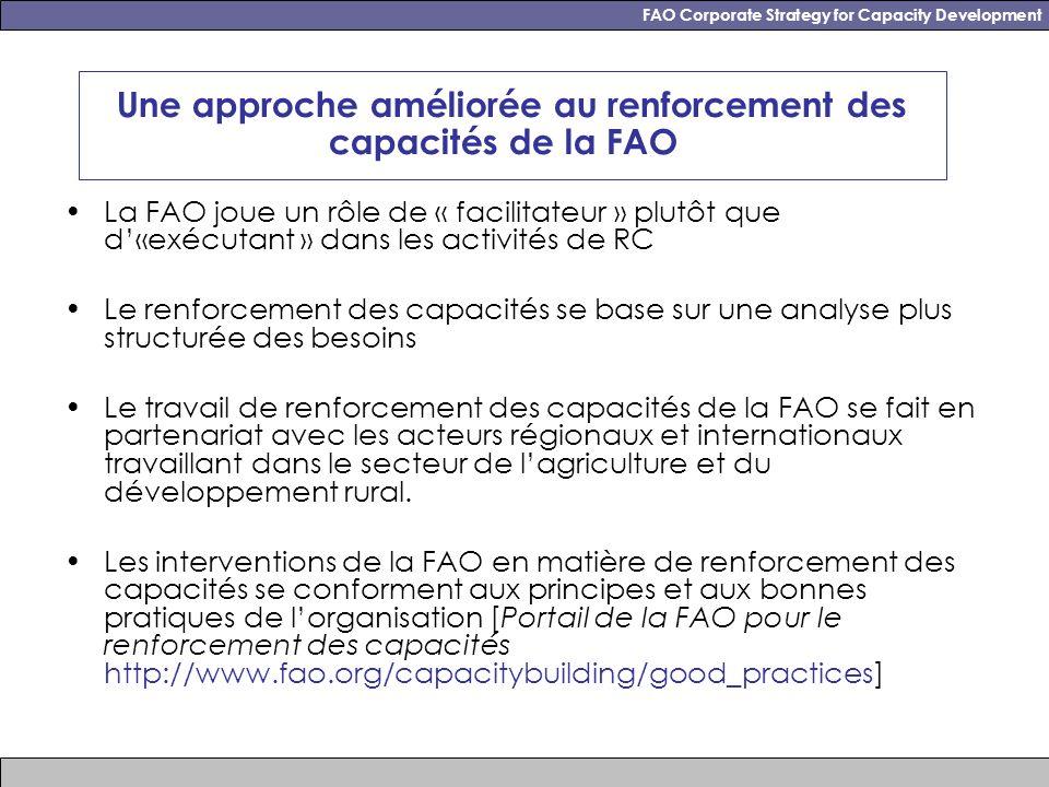 FAO Corporate Strategy for Capacity Development Une approche améliorée au renforcement des capacités de la FAO La FAO joue un rôle de « facilitateur » plutôt que d«exécutant » dans les activités de RC Le renforcement des capacités se base sur une analyse plus structurée des besoins Le travail de renforcement des capacités de la FAO se fait en partenariat avec les acteurs régionaux et internationaux travaillant dans le secteur de lagriculture et du développement rural.