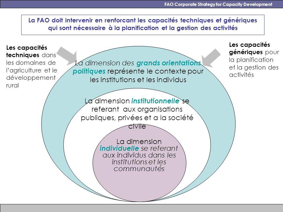Les capacités techniques dans les domaines de lagriculture et le développement rural Les capacités génériques pour la planification et la gestion des activités FAO Corporate Strategy for Capacity Development La FAO doit intervenir en renforcant les capacités techniques et génériques qui sont nécessaire à la planification et la gestion des activités La dimension des grands orientations politiques représente le contexte pour les institutions et les individus La dimension institutionnelle se referant aux organisations publiques, privées et a la société civile La dimension individuelle se referant aux individus dans les institutions et les communautés