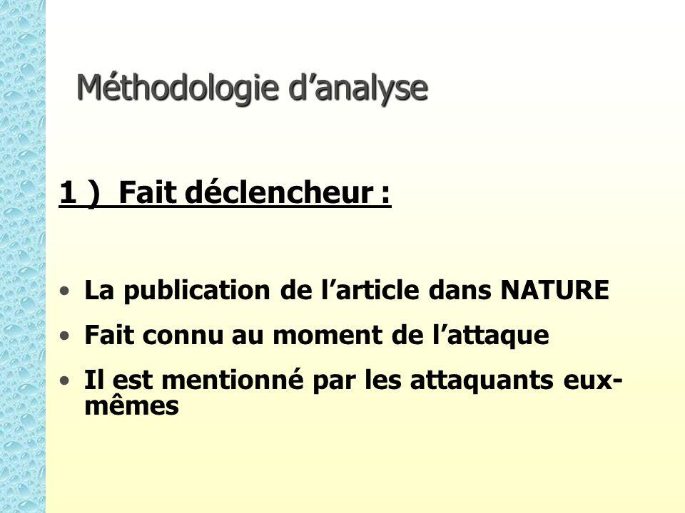 Méthodologie danalyse 1 ) Fait déclencheur : La publication de larticle dans NATURE Fait connu au moment de lattaque Il est mentionné par les attaquants eux- mêmes