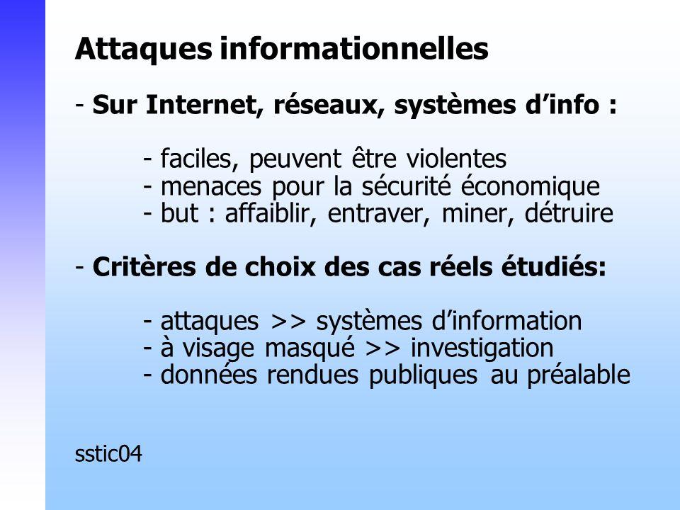 Attaques informationnelles - Sur Internet, réseaux, systèmes dinfo : - faciles, peuvent être violentes - menaces pour la sécurité économique - but : affaiblir, entraver, miner, détruire - Critères de choix des cas réels étudiés: - attaques >> systèmes dinformation - à visage masqué >> investigation - données rendues publiques au préalable sstic04